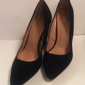 Express black suede heels